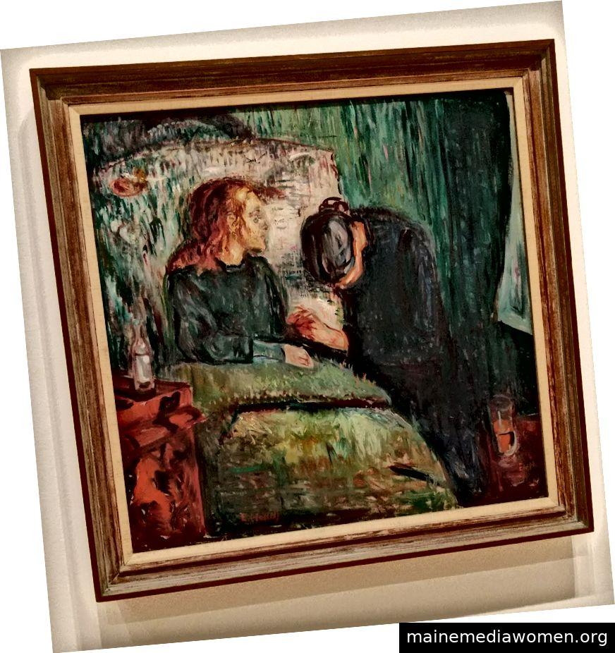 Zwei aus einer Serie von sechs Gemälden über ein krankes Mädchen und eine Frau, die ihre Hand hält