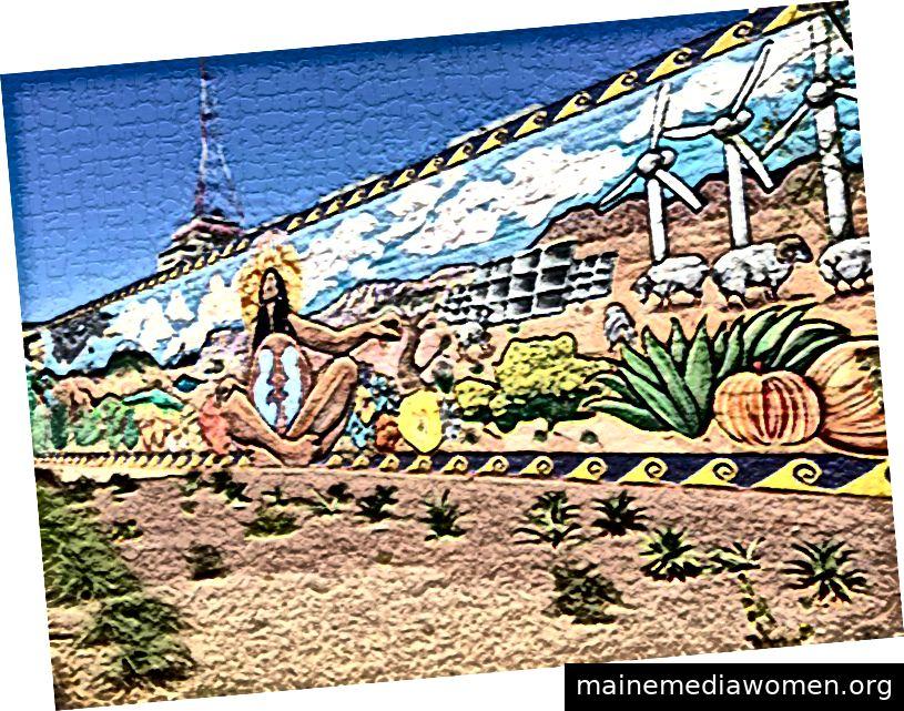 Wandbild hinter dem Taylor Place-Wohnheim auf dem Campus der ASU Downtown. (bearbeitet)