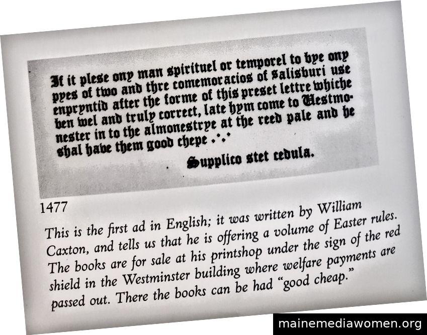 Gut, billig, aber nicht schnell! Die erste bekannte Anzeige in Englisch. Foto aus der Werbung in Amerika: Die ersten 200 Jahre.