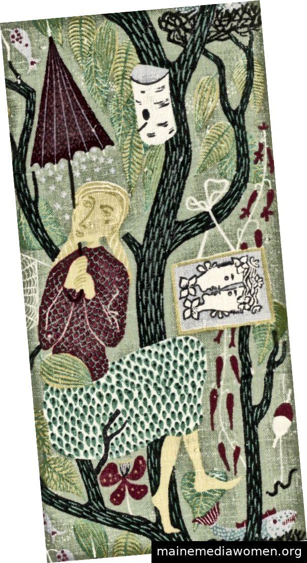 Bild Mitte: Melodi (Melody), Entwurf 1947. Stig Lindberg (Schwedisch, 1916–1982) und Nordiska Kompaniet (Schweden, gegründet 1902). Leinen: Leinwandbindung, bedruckt; 94,6 x 78,1 cm (37 1/4 x 30 3/4 Zoll). Das Cleveland Museum of Art, Geschenk von Frau B. P. Bole, Herrn und Frau Guerdon S. Holden, Frau Windsor T. White und dem L. E. Holden Fund, 1947.212