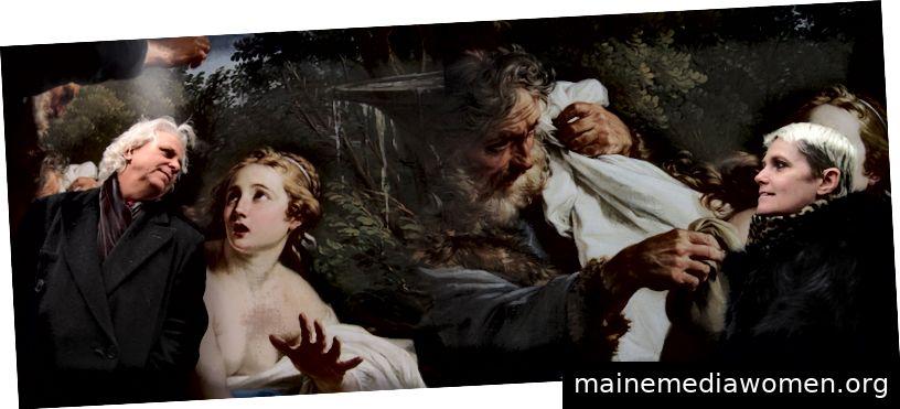 Das anomale Duo vor Sotheby's Reproduktion von Susanna und The Elders