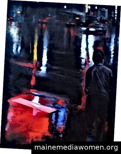 Gregg Chadwick Im Ginza-Regen Öl auf Leinen 1987