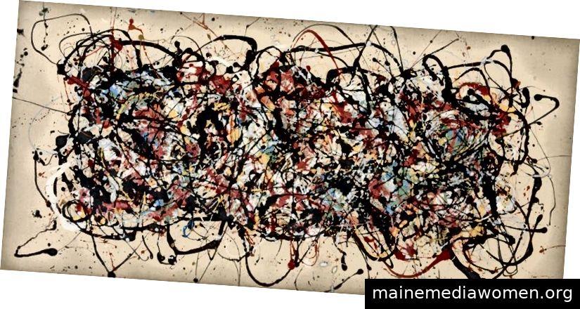 MIKE BIDLO (* 1953); Nach Jackson Pollock, kein Titel (nach Pollock), 1983; Acryl auf Leinwand Bild: 42,5 x 89,5 Zoll; Schätzpreis: 180.000 USD / 250.000 USD
