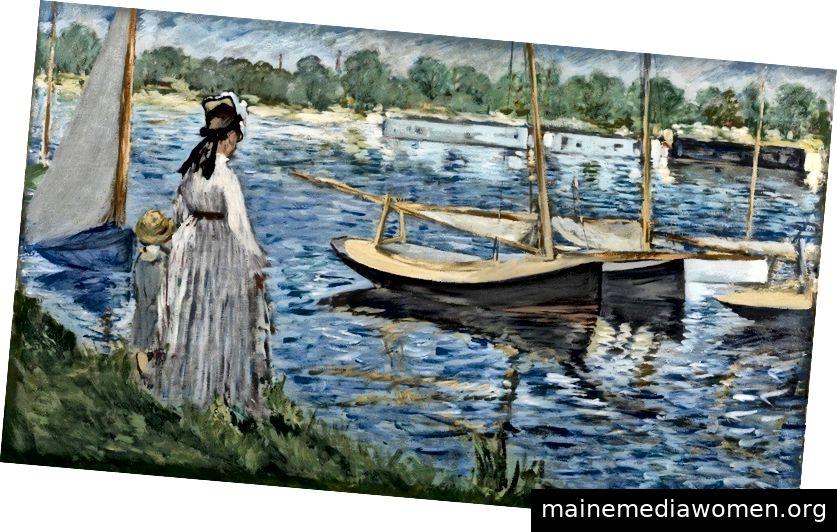 Édouard Manet. Die Ufer der Seine in Argenteuil. 1874. Öl auf Leinwand. 63,2 x 103 cm. Bild mit freundlicher Genehmigung von DNA und Fondation Louis Vuitton.