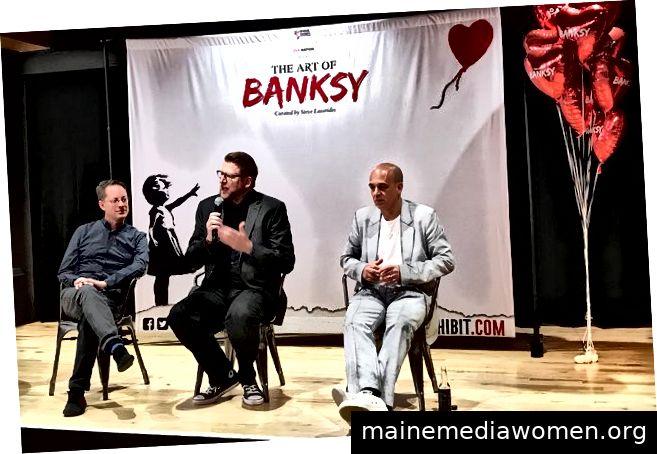 (Vlnr) Corey Ross von Starvox Exhibits, Michel Boersma von Live Nation Der Kurator Steve Lazarides gibt die nordamerikanische Premiere von The Art of Banksy in Toronto bekannt. https://www.billboard.com/articles/news/8455144/banksy-art-exhibit-toronto-michel-boersma-live-nation-interview