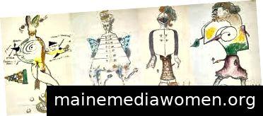 Ein Spiel von Exquisite Corpse, das im Dali Museum hängt.
