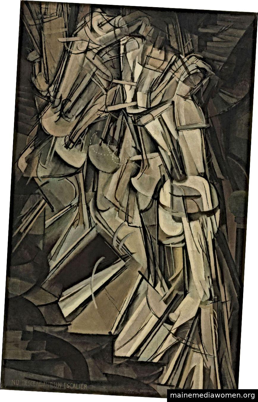 """Marcel Duchamp """"Nackte Treppe hinunter."""" 1912. Öl auf Leinwand 57 7/8 x 35 1/8 Zoll."""