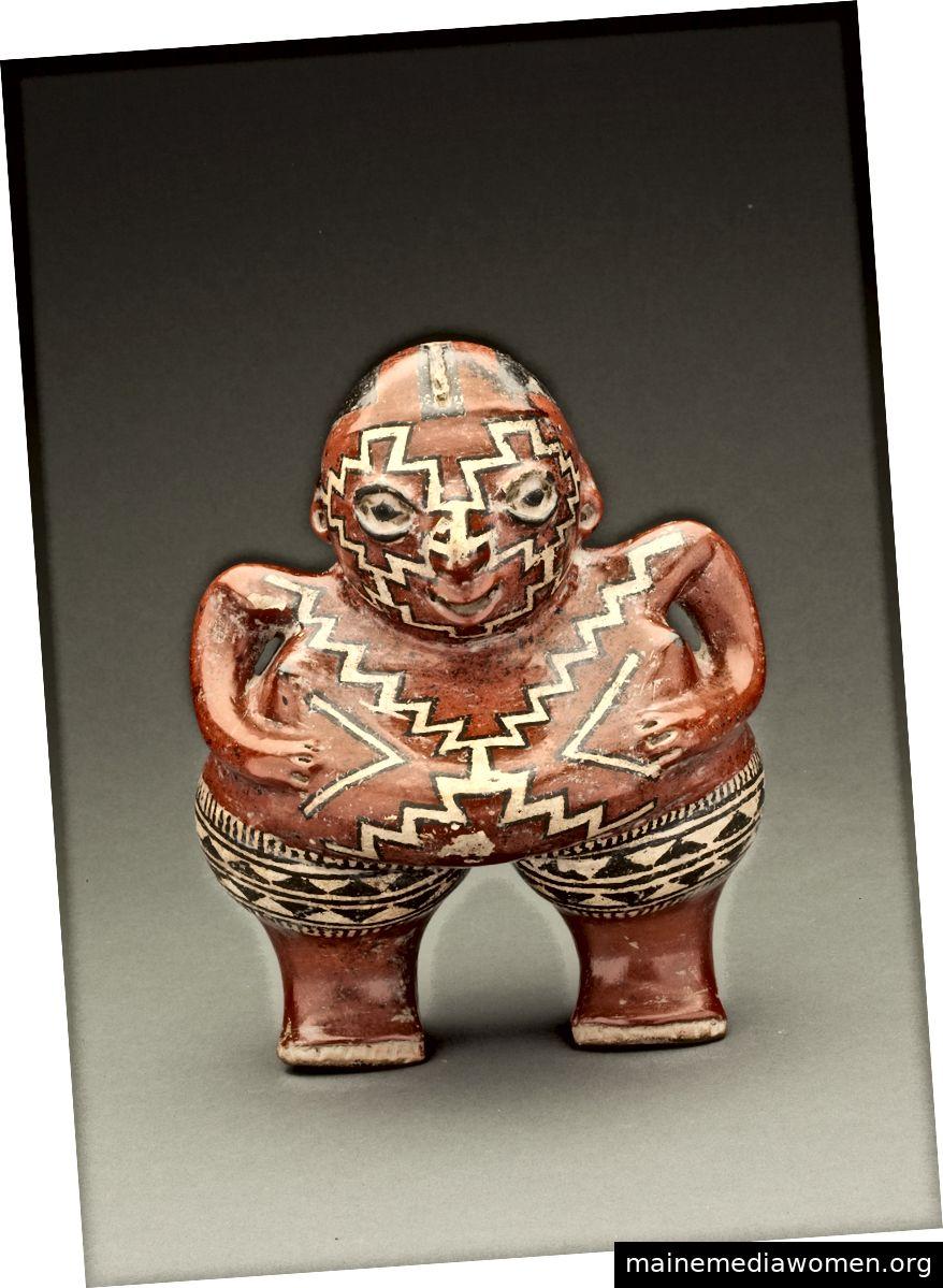 Chupícuaro Figur: Polychrome weibliche Keramikfigur. Tal von Acambaro, Guanajuato, Mexiko. 400–100 v. Chr. Das Natalie Wood Geschenk der alten mexikanischen Keramik.