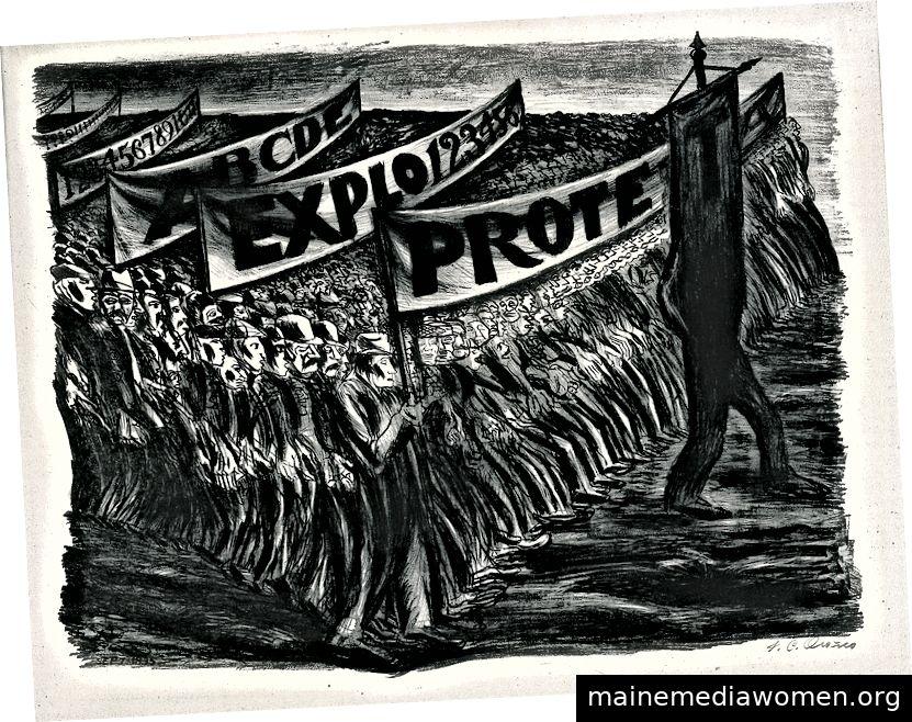 José Clemente Orozco, Manfiestación [Demonstration oder Parade], 1935, Lithographie, 15 3/16 x21 5/16 in., Blanton Museum of Art, Universität Texas in Austin, Archer M. Huntington Fund, 1986 [Mit freundlicher Genehmigung des Blanton Museum]