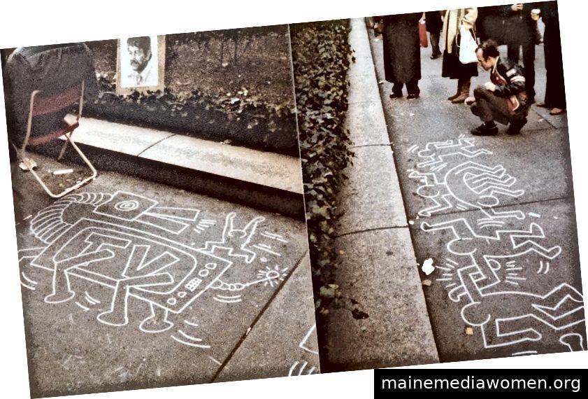 Keith Haring kreiert seine Magie vor der New Yorker Public Library. Foto von Claire Joseph