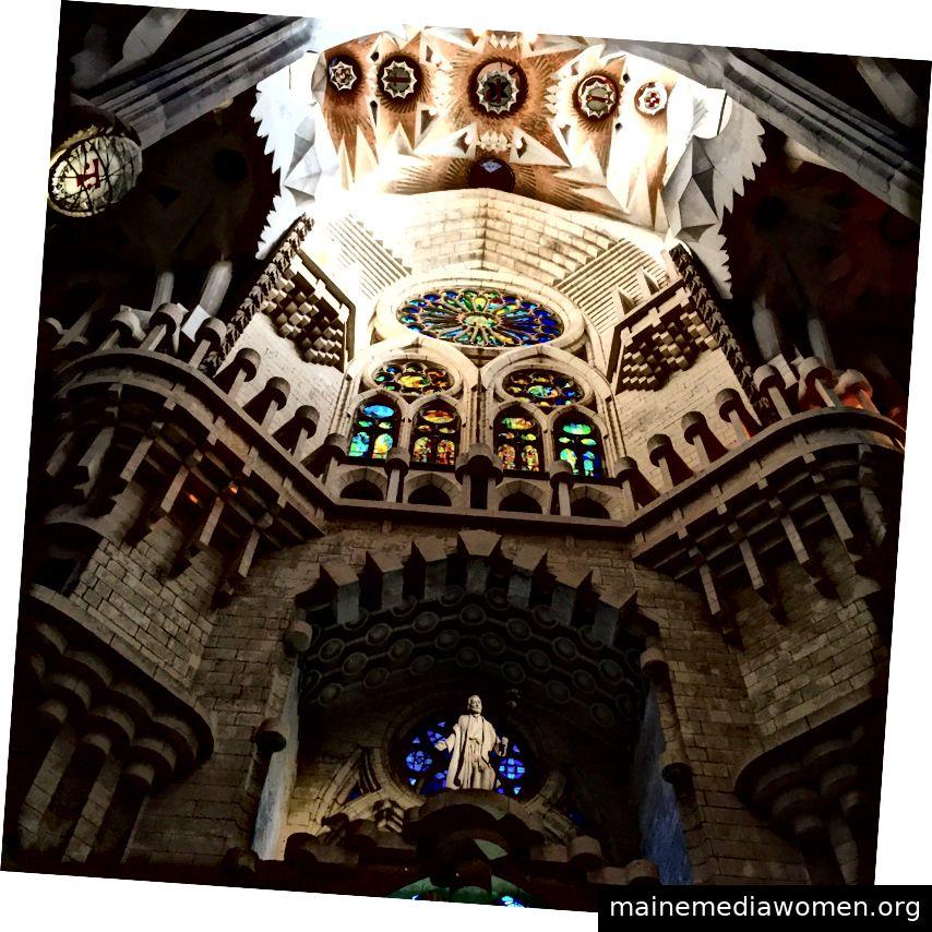Innenraum der Basilika Sagrada Familia in Barcelona. Bild: Autor.