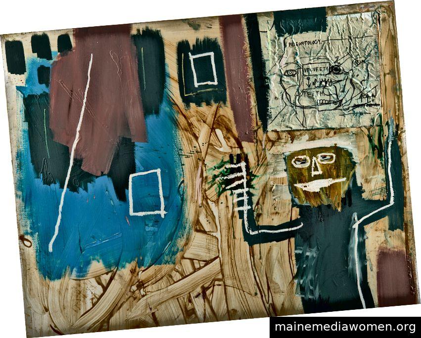 Mit freundlicher Genehmigung von Phillips - JEAN-MICHEL BASQUIAT 1960–1988, Ohne Titel (Velveeta), 1984. Aus dem Nachlass von Jean · Michel Basquiat, Acryl, Ölstift, Harz, Papier und Leinwand-Collage auf Leinwand, 167,6 x 152,4 cm (657) 8 x 60 Zoll.). Schätzpreis: £ 1.200.000–1.500.000