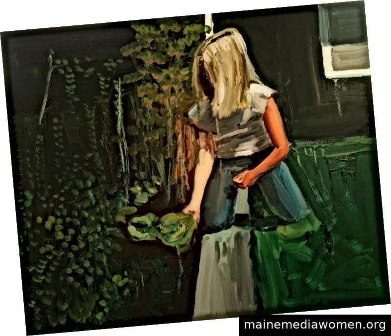 Anna Bjerger, Salat, Öl auf MDF, 50x60 cm, 2009