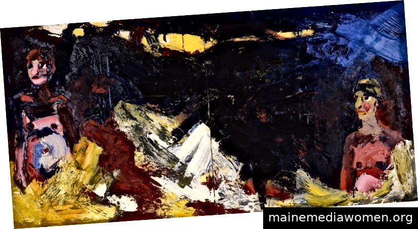 Joan Brown, The Moon Werfen Sie einen Schatten in einer Mittsommernacht, 1962, Öl auf Leinwand, Dauerausstellung des UNM Art Museum, derzeit in Hindsight / Insight
