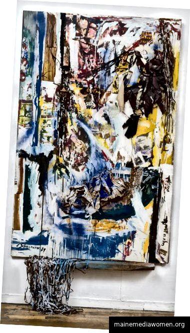 Carolee Schneemann. Ein Fenster ist klar - Notizen an Lou Andreas Salome. 1965. Masonit, Fotorepros von Salome, Rilke, Nietzche, Tuch, Tonband, Papier, Handschuhe, Leinwand, Ölfarbe. 77 1/2 × 48 × 3 1/2 in. Mit freundlicher Genehmigung von P.P.O.W. Galerie.