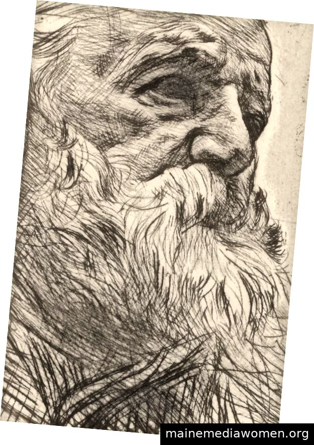 Rodin, Porträt von Victor Hugo Kaltnadelpunkt