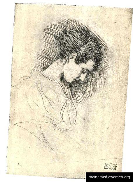 Portrait eines Mädchens mit verbogenem Kopf Gustav Klimt