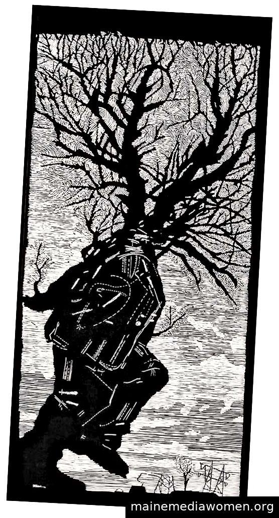 William Kentridge, UNTITLED (Spaziergänger, der zum Baum wird), 2001 Linolschnitt auf Tableau-Reispapier