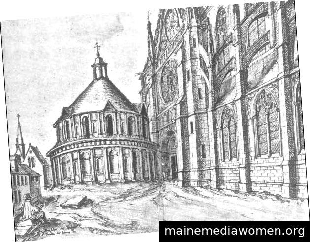 Stich aus dem 17. Jahrhundert, der die Rotonde des Valois vor ihrer Demontage darstellt. © BNF