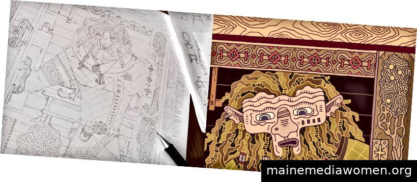Bleistiftskizzen und Details.