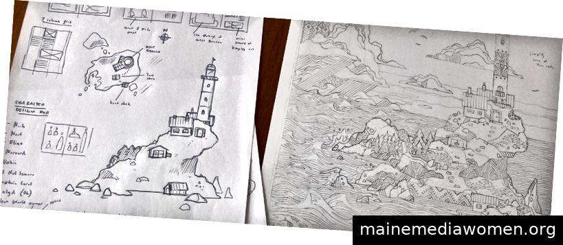 Skizzen und Bleistiftarbeiten für West Beacon.