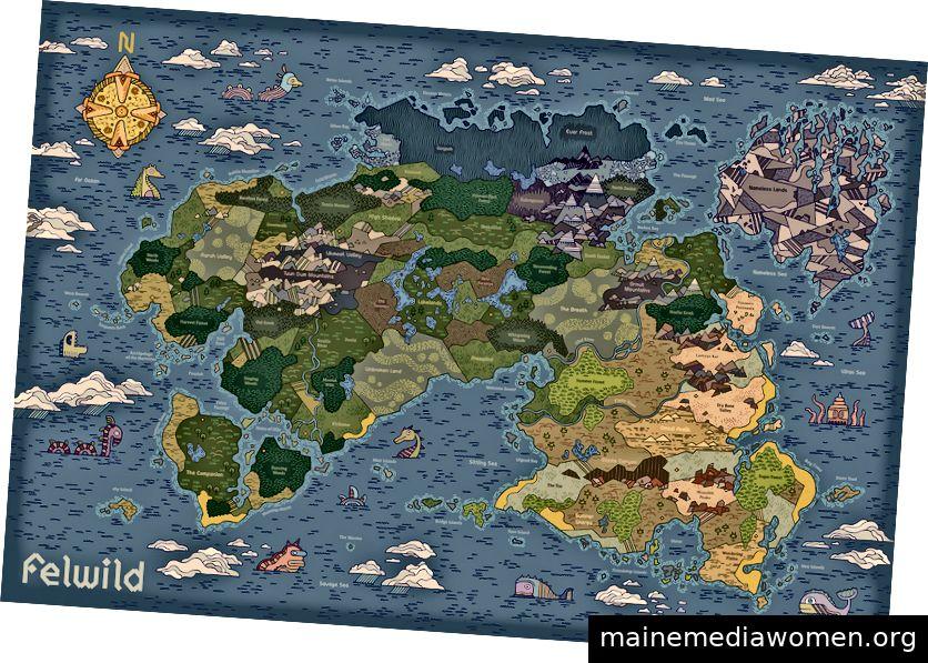 Eine vollständige Karte von Felwild, der geheimen Insel, auf der die Geschichte spielt.
