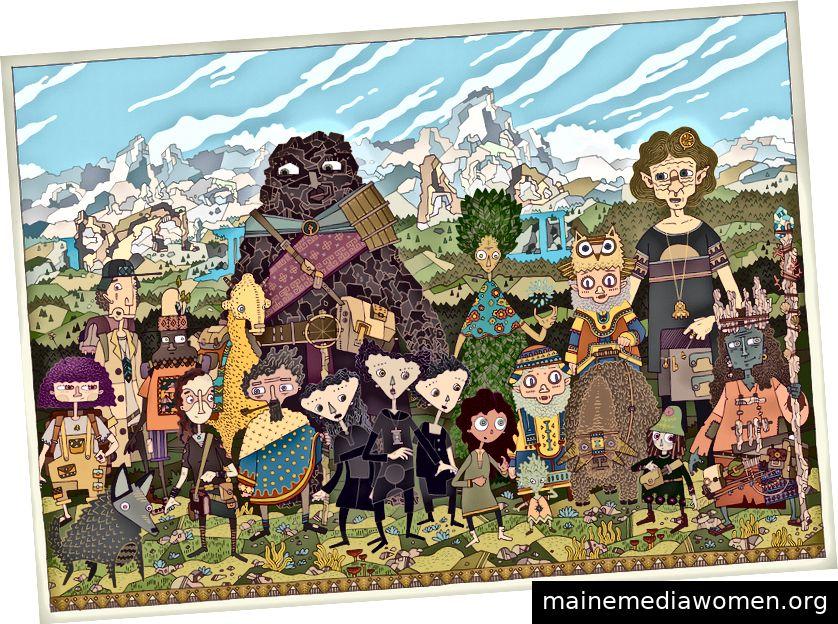 Eine Sammlung von Charakteren aus dem Buch.
