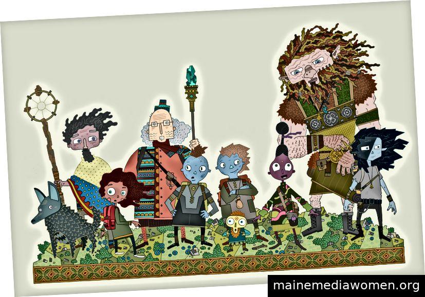Der Star für die Serie. Von links: Sisu (Zirnefs Fuchs), Old Toby, Nouf, Elias, Bontu, Toku, Issu, Aio, Norvard und Zirnef.