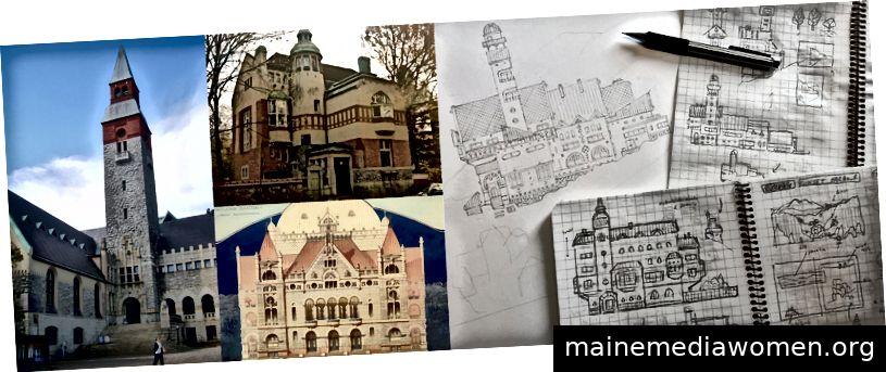 Inspiration und Skizzen für die Master Library von Felwild. Für mich ist das Gebäude ein Liebesbrief an eines meiner Lieblingsgebäude in Helsinki, Finnland.