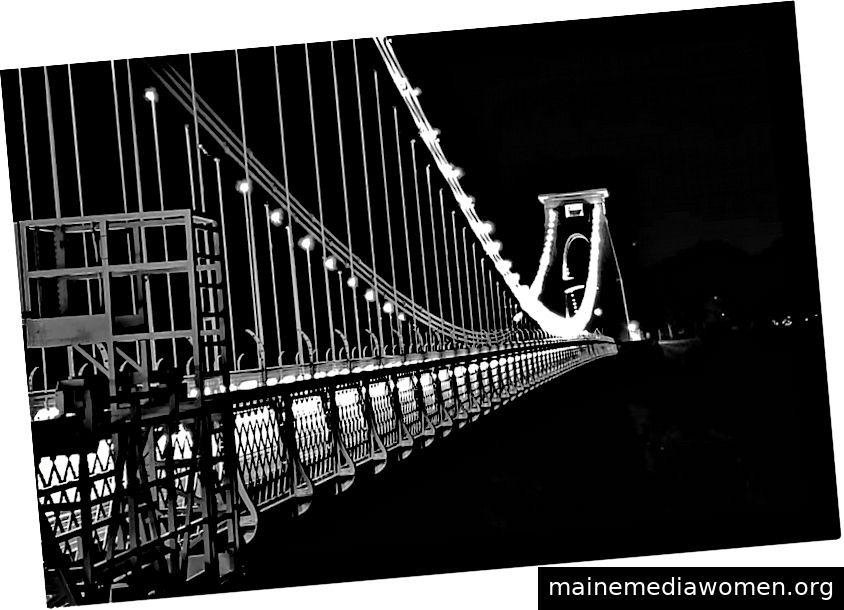 Clifton Suspension Bridge im Winter in der Nacht, schwarz und weiß. Bristol, 2018. Alle Fotos sind meine eigenen.