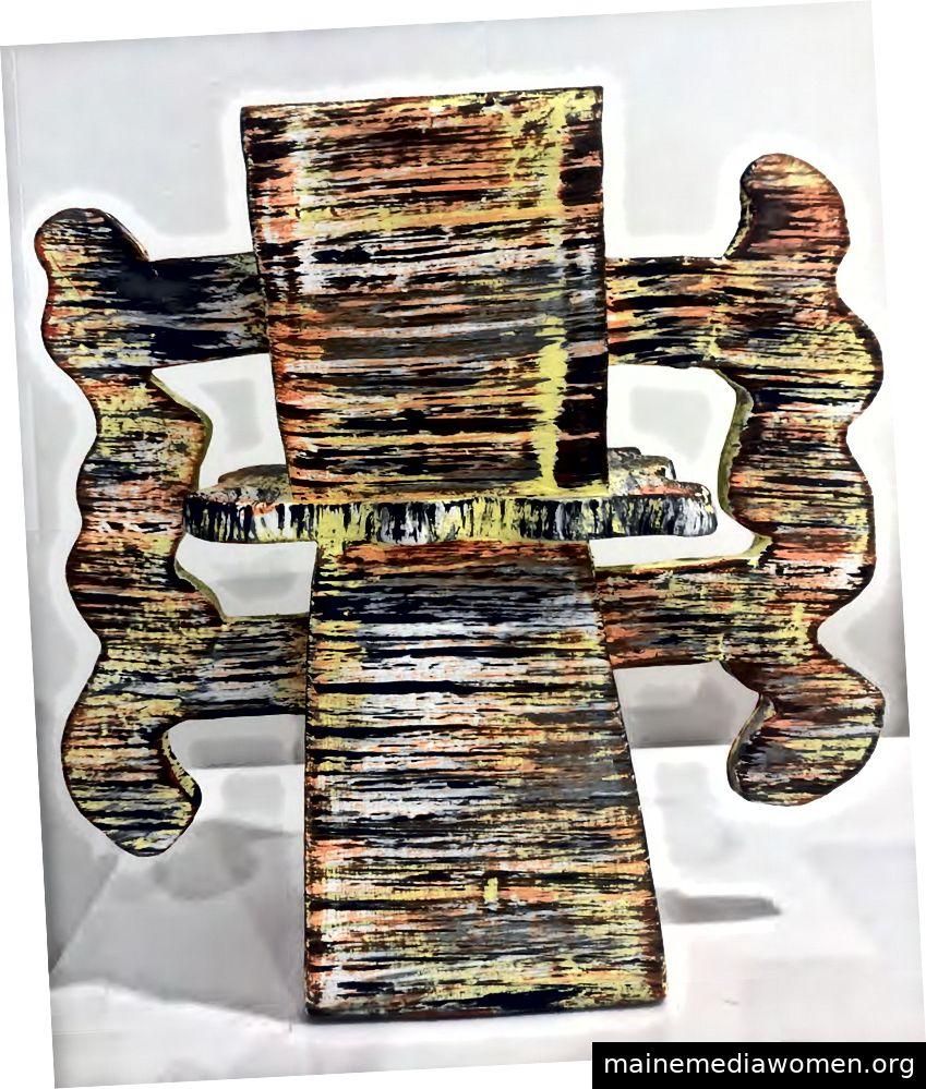 Sue Havens, Ziegel- und Mörtelserie, 2018 Gebrannter Ton, Acrylfarbe und Keramikglasur 9½ x 9 x 3 ½ Zoll Mit freundlicher Genehmigung von LMAKgallery, NY