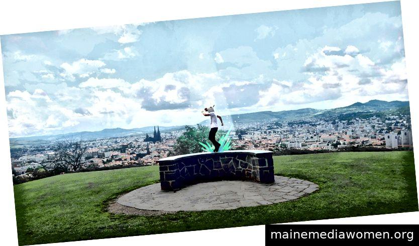 Setzen Sie Ay in Montjuzet Park mit Blick auf seine Heimatstadt Clermont-Ferrand