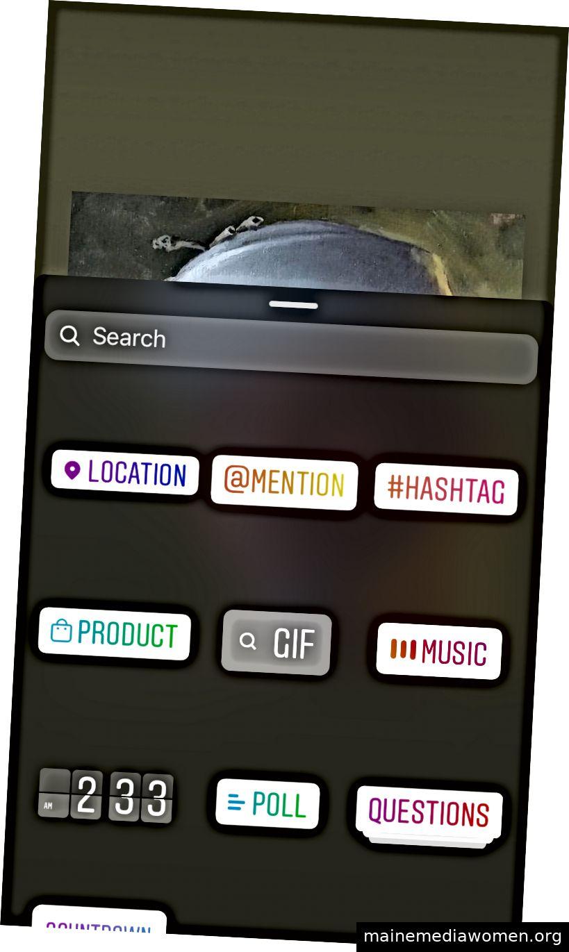 Beispiel für Produkt- und andere Optionen in Geschichten