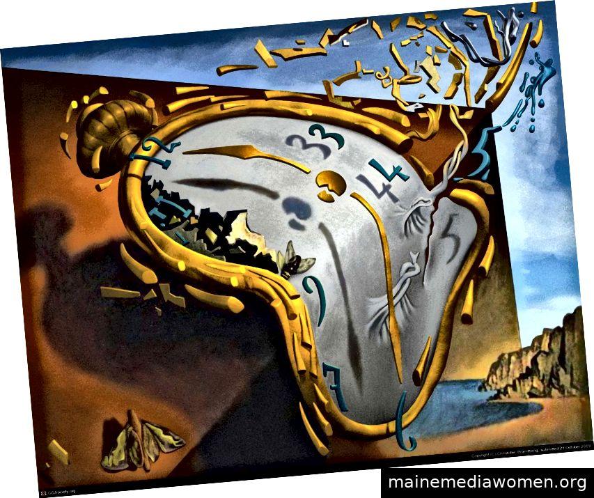 Salvador Dali, weiche Uhr im Moment der ersten Explosion (1954)