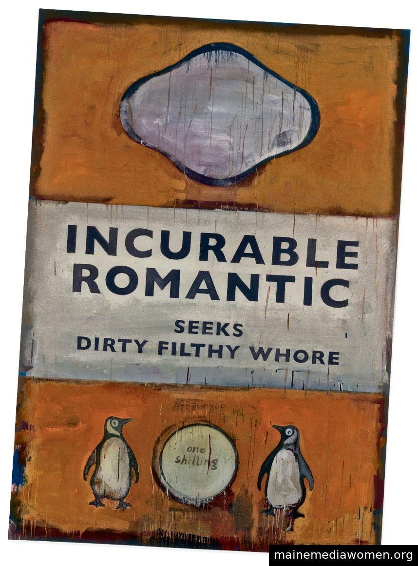 Harland Miller (* 1964) Unheilbare Romantik sucht Dirty Filthy Whore (2007) für einen Weltauktionsrekord von 315.400 USD. Christie's Images Ltd 2019