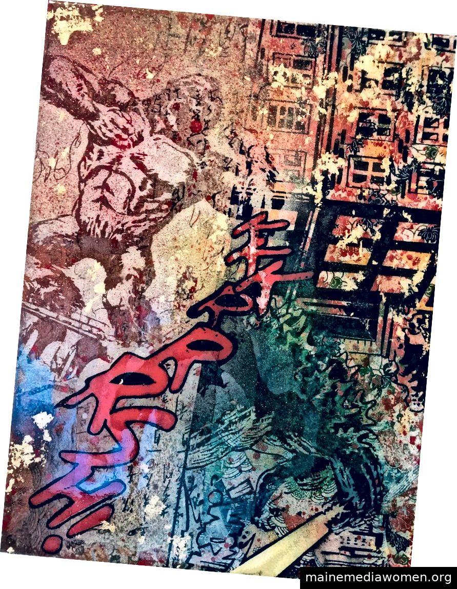 Sei Shimura, Mixed-Signal-Sammlung, Mischtechnik auf Holz, 12 x 14