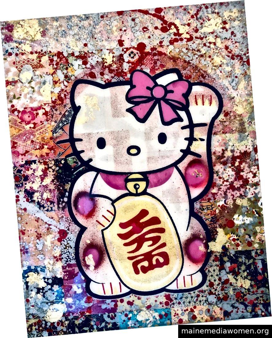 Sei Shimura, Glückliche Katze, Mischtechnik auf Holz, 12 x 14