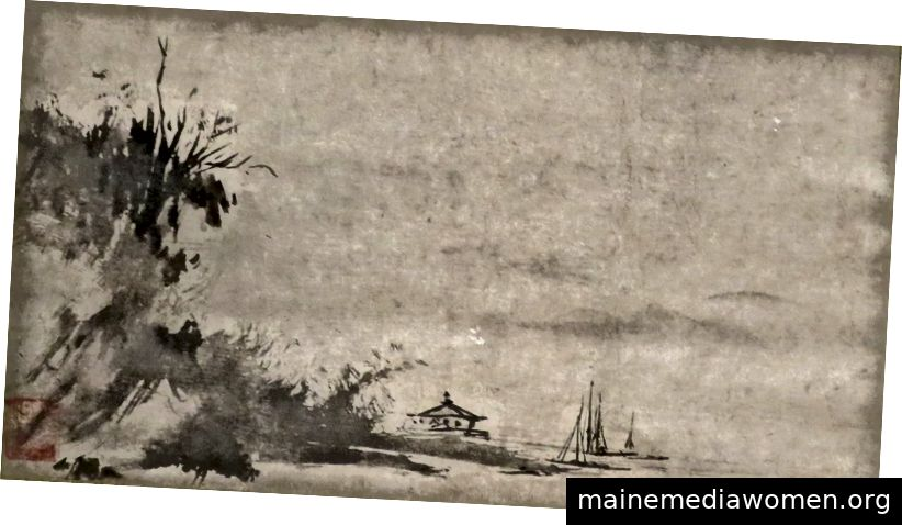 Landschaft aus dem 15. Jahrhundert, die Sesshū Tōyō zugeschrieben wird (derzeit im Honolulu Museum of Art untergebracht)