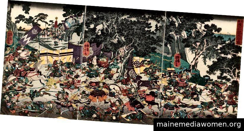 Darstellung des Onin-Krieges aus dem 19. Jahrhundert von Utagawa Yoshitora