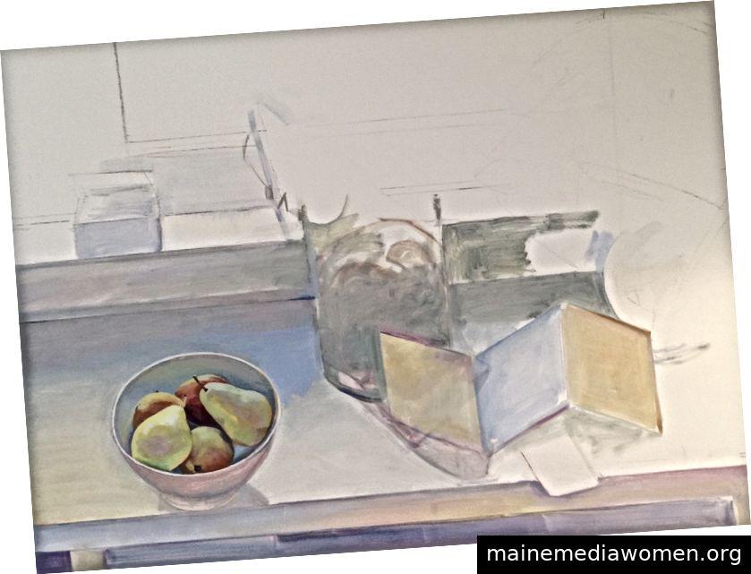 """Susan Abbott, """"Pfingstrosen am Fenster"""" (in Bearbeitung), Öl auf Leinen"""