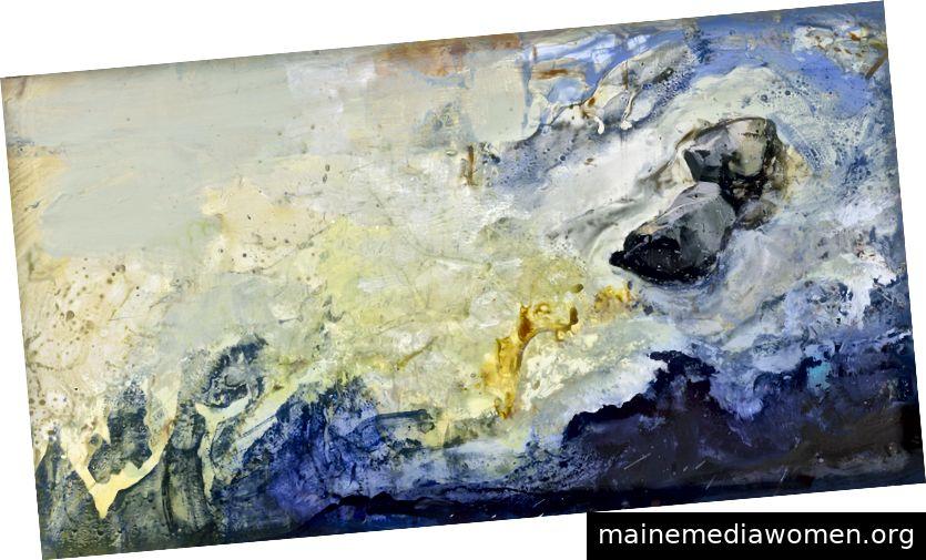 Ilana Manolson, In der Flüssigkeit fixiert, 2018, Acryl auf Yupopapier an Bord, 67 x 62 cm © der Künstler, mit freundlicher Genehmigung von Cadogan Contemporary
