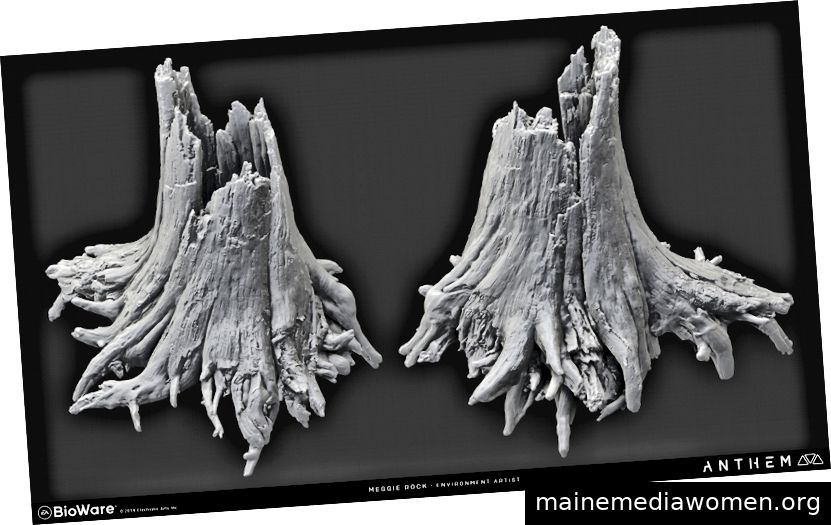 Dead Tree Trunk High Poly Sculpt von Meggie.
