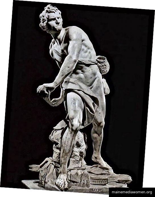 """Gian Lorenzo Bernini, David, Marmor, 67 """", 1623–4"""