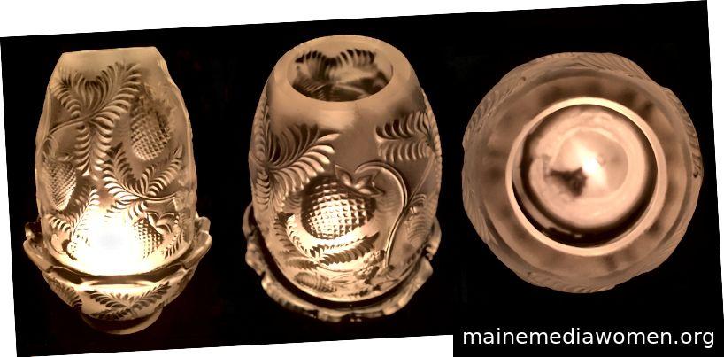 Drei Ansichten eines Feenlampekerzenhalters mit einem Erdbeermuster