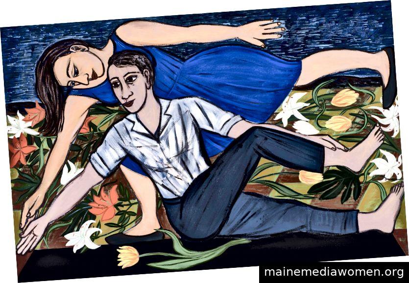 Eileen Cooper, Blue Duet, 2016, Öl auf Leinwand, 41 3/4 x 63 3/4 Zoll © der Künstler, Courtesy Huxley-Parlor Gallery