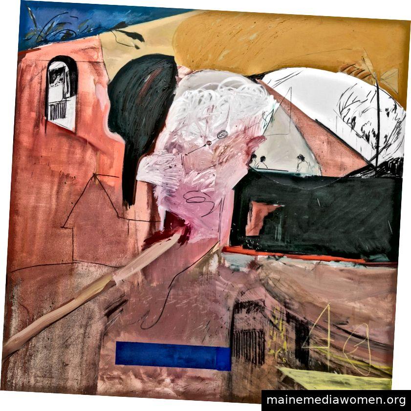 Emma Fineman, Meine Heimatstadt brannte und alles, woran ich denken konnte, war, dass die Sonne gebleicht wurde. Ich habe sie in einem Traum über die Dominikanische Republik dargestellt, 2017, Öl und Kohle auf Leinwand, 92 ½ x 92 ½ Zoll © der Künstler, Courtesy Huxley-Parlour Galerie
