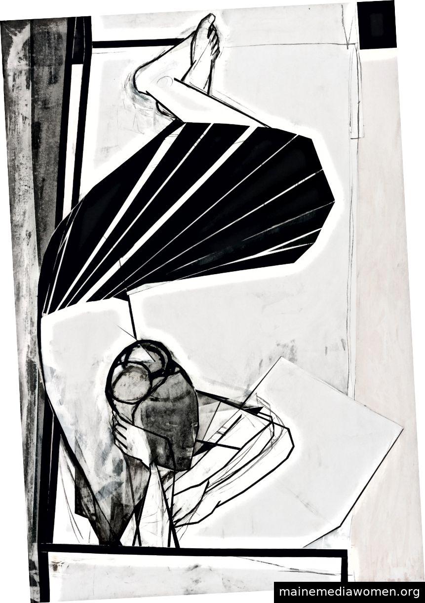 Iris Schomaker, Ohne Titel, 2017, Öl und Aquarell auf Papier, 94 ½ x 63 ¾ Zoll © der Künstler, Courtesy Huxley-Parlor Gallery