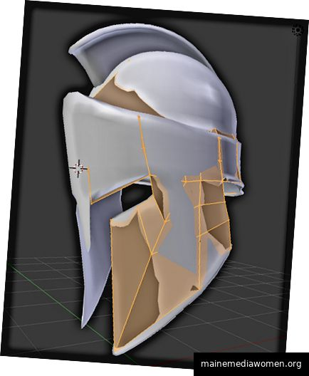 Hergestellt im Mixer 2.79. Für den spartanischen Helm führte die automatische Dezimierung zu schlechten Ergebnissen und brach die allgemeine Form vollständig. In diesem Fall hatte ich kaum eine andere Wahl, als die Topologie manuell neu zu erstellen. Dieses Bild zeigt Ihnen den Vorgang: In Grau haben Sie das High-Poly-Modell. In Orange ist die Topologie, die ich schrittweise über das Original aufbaute. Es ist wirklich so, als würde man das Originalobjekt in eine grobe, primäre Form
