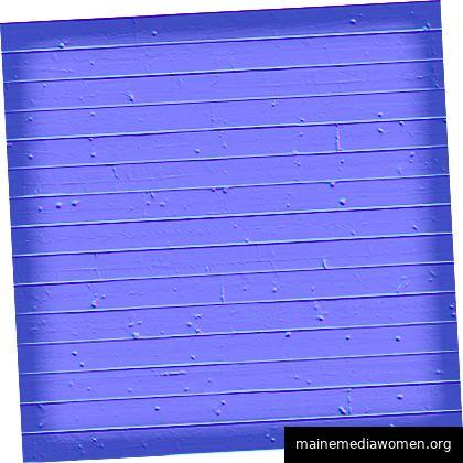 Dies ist die normale Karte der Holzplanken des Schiffes. Diese bestimmte Farbe wird durch die Tatsache hervorgerufen, dass das Bild in RGB erzeugt wird, wobei jeder Kanal einer Ausrichtung entspricht. © Alint.