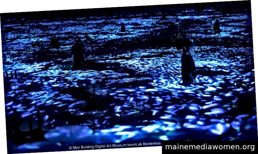 Der Weg des Meeres zur Erinnerung an die Topographie - Farben des Lebens (Quelle: Mori Building Digital Art Museum / teamLab Borderless, 2018, Odaiba, Tokio)